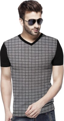 Tripr Checkered Men V Neck Grey, Black T-Shirt