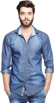 Lafantar Men Solid Casual Blue Shirt Lafantar Casual Shirts
