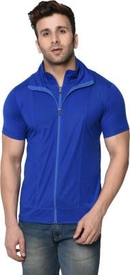 Jangoboy Solid Men Polo Neck Dark Blue T-Shirt