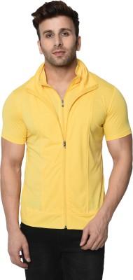 Jangoboy Solid Men Polo Neck Yellow T-Shirt