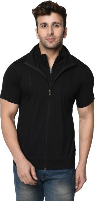 Jangoboy Solid Men Polo Neck Black T-Shirt