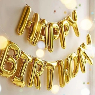 Stylin Solid Happy Birthday Decoration Foil Balloon For Birthday Party- Golden Letter Balloon(Gold, Pack of 13)
