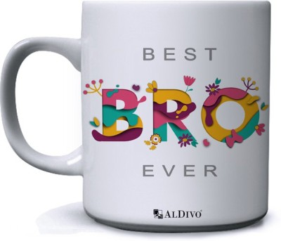 alDivo Gift Best Bro Ever Printed Ceramic Coffee Mug(350 ml)