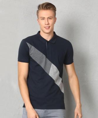 U.S. Polo Assn Striped Men Polo Neck Dark Blue T-Shirt