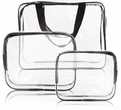 HOUSE OF QUIRK 3 Pack Clear PVC Cosmetic Bags Travel Toiletry Bag Set Waterproof Zipper Packing Cubes Organizer(Multicolor)