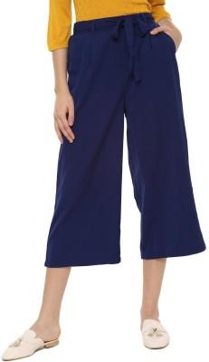 People Regular Fit Women Blue Trousers at flipkart