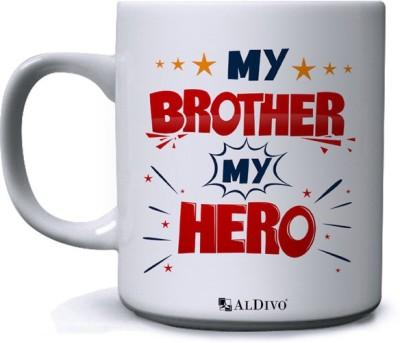alDivo Gift My Brother My Hero Printed Ceramic Coffee Mug(350 ml)