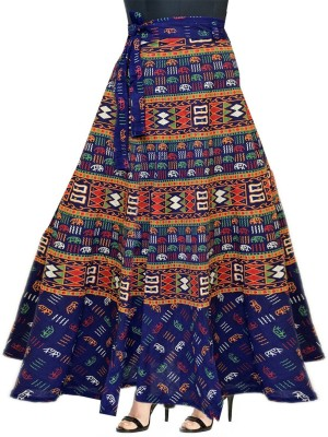 Frionkandy Printed Women Wrap Around Blue Skirt