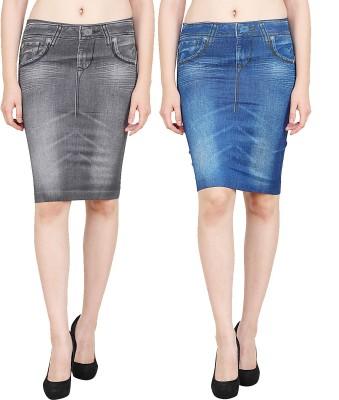 Aiyra Solid Women Straight Blue, Black Skirt Aiyra Women's Skirts