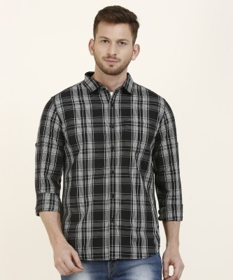 Highlander Men Checkered Casual Black, White Shirt at flipkart