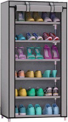 CMerchants Shoe Stand 6 Layer Metal Collapsible Shoe Stand(Grey, 6 Shelves)