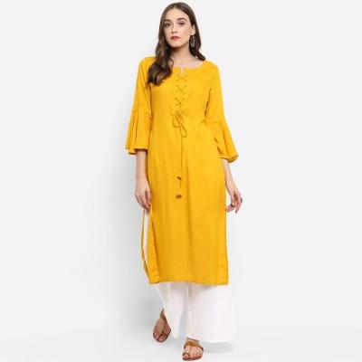 Krapal Women Solid A-line Kurta(Yellow)