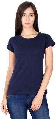 Mini Mini Solid Women Round Neck Dark Blue T Shirt