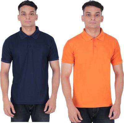 DVIR Solid Men Polo Neck Dark Blue, Orange T-Shirt(Pack of 2)