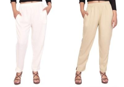 Aawari Regular Fit Women White, Beige Trousers