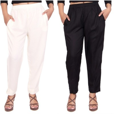 Aawari Regular Fit Women Black, White Trousers