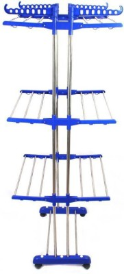 TNC KING SIZE double pipes supports Drying Stand with wheels (blue) Stainless Steel Floor Cloth Dryer Stand(Blue)