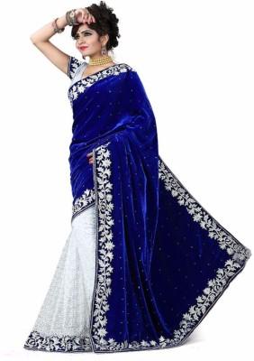 sanskriti designers Embellished Fashion Velvet Saree(Dark Blue)