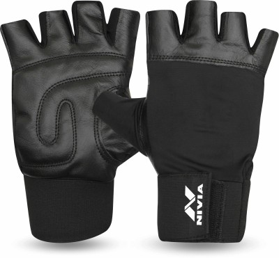 Nivia Leather with Wrist Band Gym & Fitness Gloves(Black)