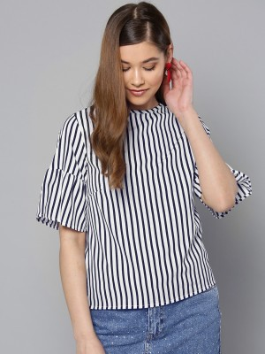Harpa Casual Short Sleeve Solid Women White Top