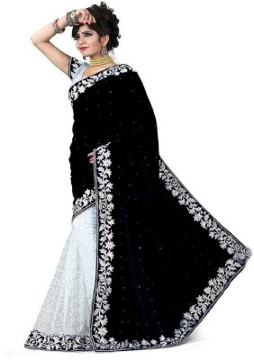 sanskriti designers Embellished Fashion Velvet Saree(Black)