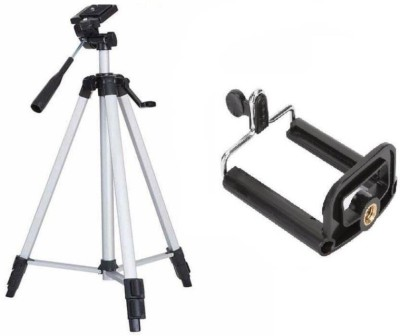 SCORIA 3110 Portable Adjustable Aluminum Lightweight Camera Stand Tripod(Silver, Black, Supports Up to 3200 g) 1
