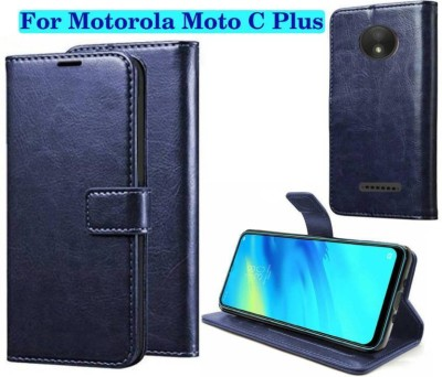 Finely Flip Cover for Motorola Moto C Plus(Blue)