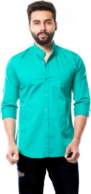 MOUDLIN Men Solid Casual Light Green Shirt