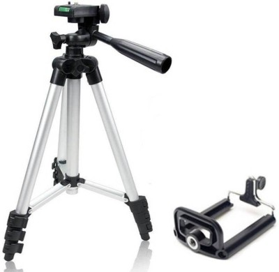 Zeom ™ Portable & Foldable Camera & Mobile Tripod with Mobile Clip Holder Bracket Fully Flexible Mount Cum Tripod Stand with Three-Dimensional Head & Quick Release Plate Tripod / Portable Digital Camera Mobile Stand Tripod, Mono-pod Tripod(White, Supports Up to 1500) Tripod(Black, Silver, Supports 1