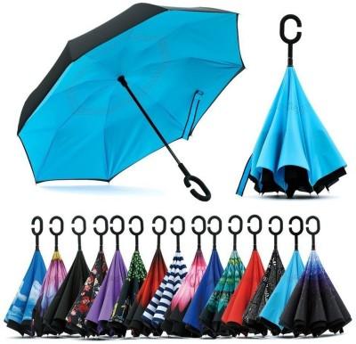 AMITYENTERPRISE Double Layer Wind Proof, UV Proof Reverse Folding Umbrella with C Shape Umbrella(Multicolor)