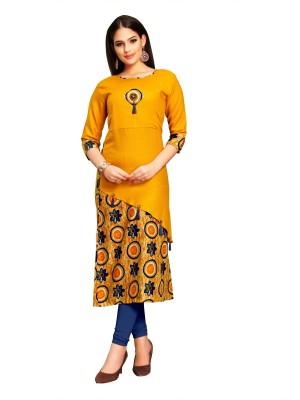 Icon Fashion Festive & Party Self Design Women Kurti(Yellow)
