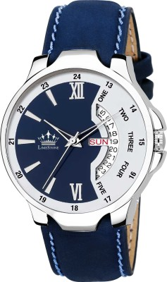 LimeStone LS2821 Bleed Blue Day and Date Functioning Steel Strap Adult Boys...