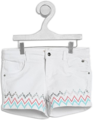 Gini & Jony Short For Girl's Casual Printed Cotton Blend(White, Pack of 1)