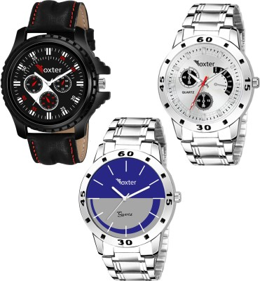 Foxter Combo Of Three Metallic And Leather Super Quality Watch Analog Watch  - For Men