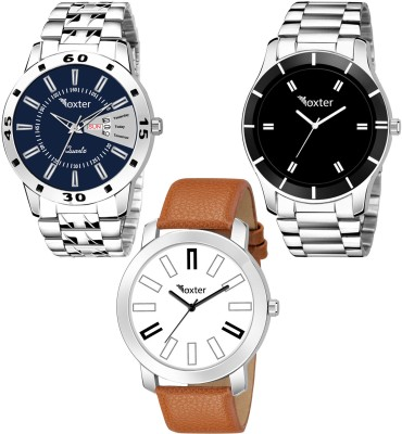 Foxter Combo Of Three Metallic And Leather Super Quality Analog Watch  - For Men