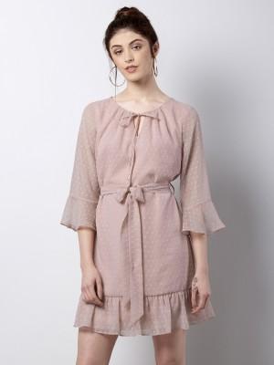 FabAlley Women Shift Pink Dress