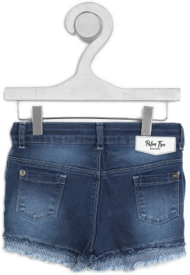 Gini & Jony Short For Girl's Casual Solid Cotton Blend(Blue, Pack of 1)