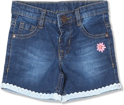 DONUTS Short For Girls Casual Solid Cotton Blend(Blue, Pack of 1)