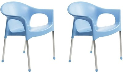 Cello Metallo Palstic Set Of 2 Chairs,Blue Plastic Cafeteria Chair(Blue)