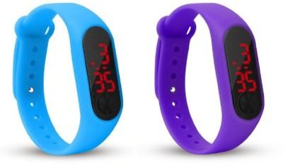 Jamvai JM-Rubber Magnet LED SKY BLUE- PURPLE Watch M2 For Men & Women & Kids M2 LED Watch SKY BLUE- PURPLE Combo Analog-Digital Watch  - For Boys & Girls