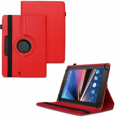 TGK Flip Cover for Lava Ivory S 4G Tablet 7 inch /360 Degree Rotating Universal Case With Three Camera Hole(Red)
