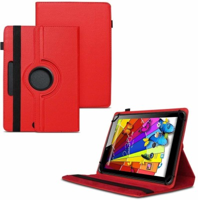 TGK Flip Cover for Lava Ivory Plus Tablet 7 inch /360 Degree Rotating Universal Case With Three Camera Hole(Red)