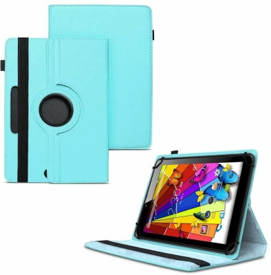 TGK Flip Cover for Lava Ivory Plus Tablet 7 inch /360 Degree Rotating Universal Case With Three Camera Hole(Blue)