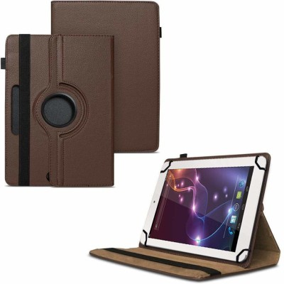TGK Flip Cover for Lava Ivory Xtron Z704 Tablet 7 inch /360 Degree Rotating Universal Case With Three Camera Hole(Brown)