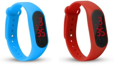 Jamvai JM-Rubber Magnet LED SKY BLUE- RED Watch M2 For Men & Women & Kids M2 LED Watch SKY BLUE- RED Combo Analog-Digital Watch  - For Boys & Girls