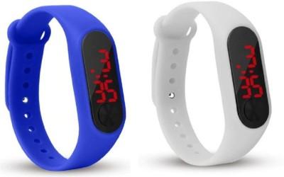 Jamvai JM-Rubber Magnet LED BLUE-WHITE Watch M2 For Men & Women & Kids M2 LED Watch BLUE-WHITE Combo Analog-Digital Watch  - For Boys & Girls