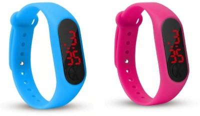Jamvai JM-Rubber Magnet LED SKY BLUE- PINK Watch M2 For Men & Women & Kids M2 LED Watch SKY BLUE- PINK Combo Analog-Digital Watch  - For Boys & Girls
