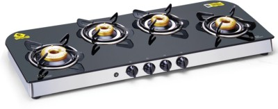 GLEN 1049 GT AI Forged Brass Burner Glass Automatic Gas Stove(4 Burners)