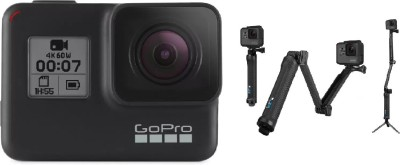 GoPro Hero7 (with 3 Way Mount) Sports and Action Camera(Black, 12 MP)