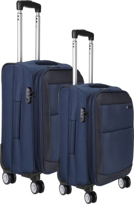 NASHER MILES Manarola Soft Sided Luggage Set of 2 Blue Trolley/Travel/Tourist Bags  20   24 Cm  Expandable Check in Luggage   24 inch NASHER MILES Sui